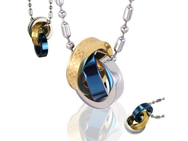 Eternal Interlock Triple Colors Blue Rings Stainless Steel Pendant Necklace 16