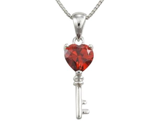 Garnet Cubic Zirconia 3.6ct Heart Key Platinum Silver Pendant Necklace 16