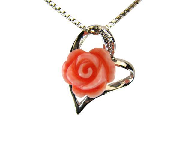 Red Coral Rose Heart-Shaped Platinum Overlay Silver Pendant Necklace 16