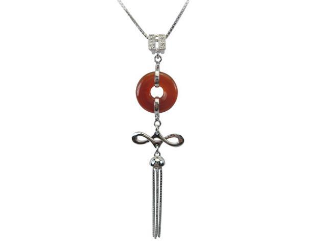 Good Luck Red Jade Platinum Overlay CAREFREE Silver Pendant Necklace 18