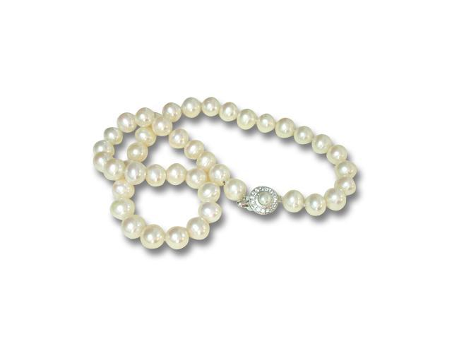 White 10-11mm AA+ Pearl Strand Cubic Zirconia Stud Silver Clasp Necklace 18