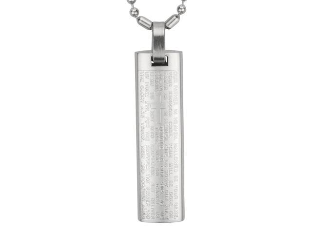 Stainless Steel English Lord's Prayer and Cross Bar Small Pendant Necklace 18