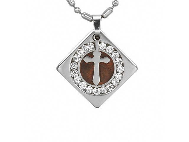 Stainless Steel Cross Redwood Cubic Zirconia Circle Diamond Pendant Necklace 24