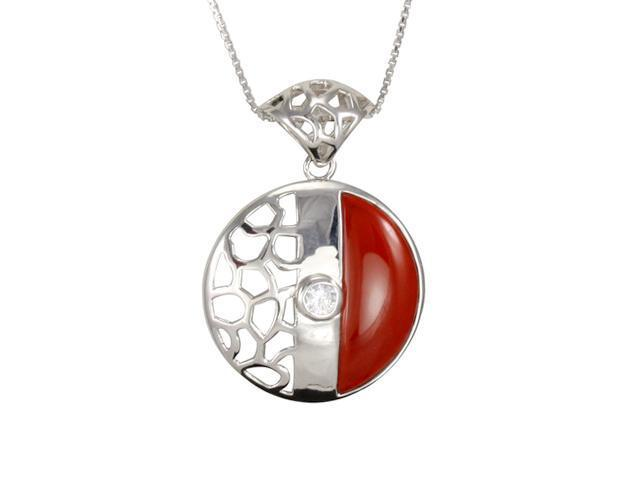 Cubic Zirconia Core Red Jade Lattice Round Platinum Silver Pendant Necklace 16