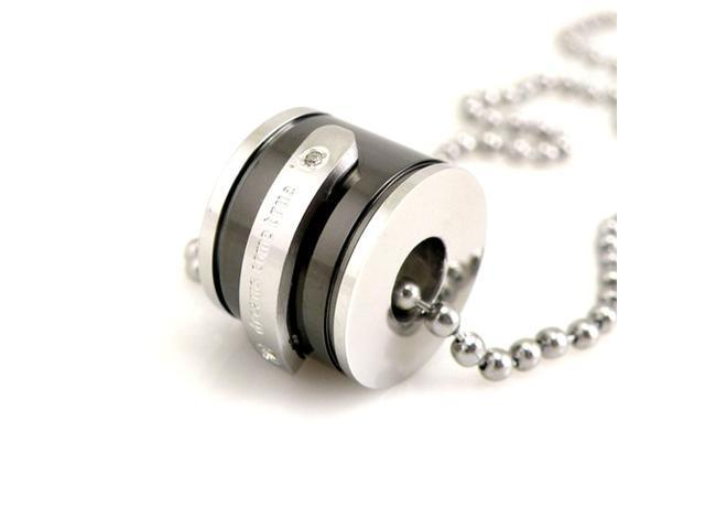 Dreams Come True Black Barrel Stainless Steel Pendant Necklace 16