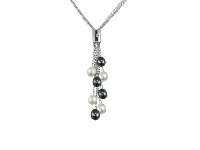 Black & White Cultured Pearl 4-Strand Silver Chain Lariat w. Bar Crystal Slider
