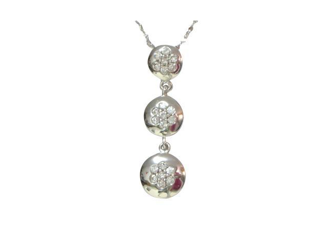 Cubic Zirconia Flower Triple Disc Platinum Overlay Silver Pendant Necklace 16