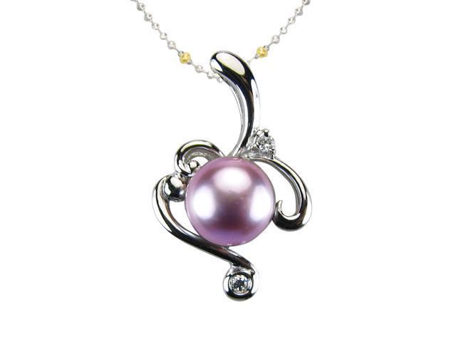 Vine Spiral Lavender Pearl Cubic Zirconia Platinum Silver Pendant Necklace 16