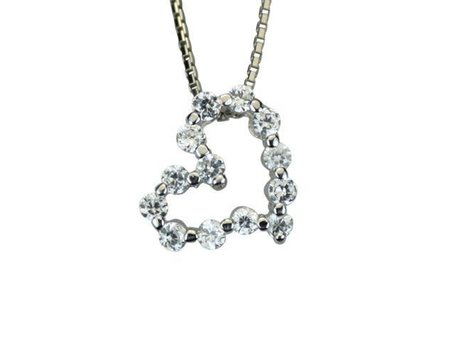 Diamond Cubic Zirconia Journey Heart Platinum Silver Pendant Necklace 16
