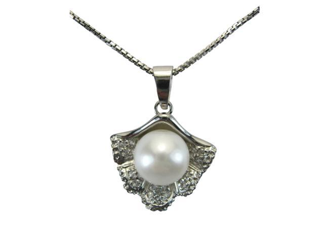 Sea Treasure Pearl Platinum Overlay Silver Pendant Necklace, White 16