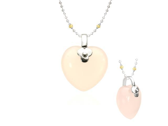 Rose Quartz Heart-Shaped Platinum Overlay CAREFREE Silver Pendant Necklace 16