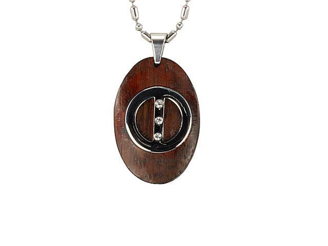 Redwood Cubic Zirconia Circle Line Oval Stainless Steel Pendant Necklace 22