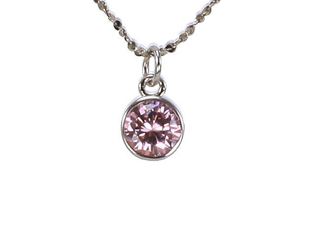 Pink Cubic Zirconia 1ct 6.5mm Solitaire Bezel Silver Pendant Necklace 16