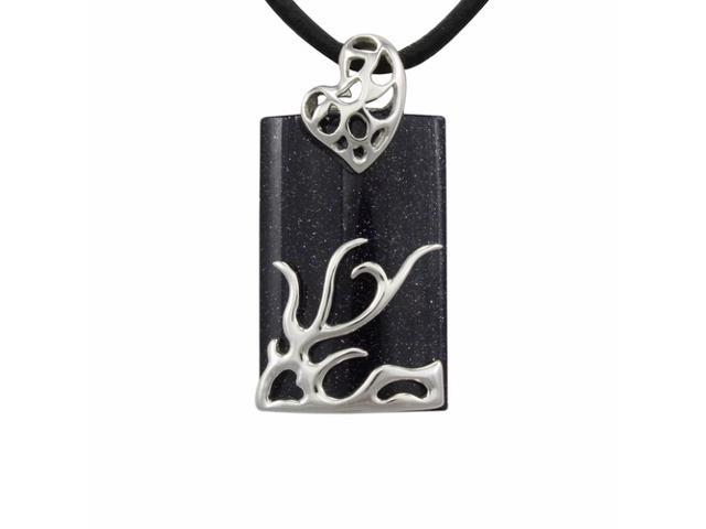 Dragon Midnight Blue Goldstone Platinum Silver Pendant Leather Necklace 20