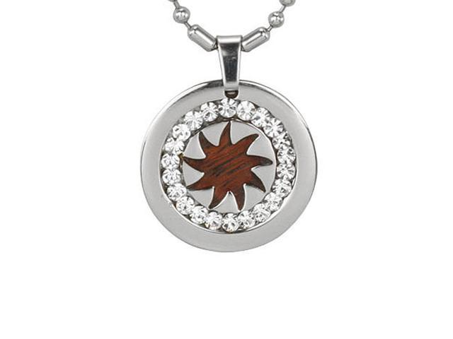 Redwood Cubic Zirconia Spike Wheel Medal Stainless Steel Pendant Necklace 16'