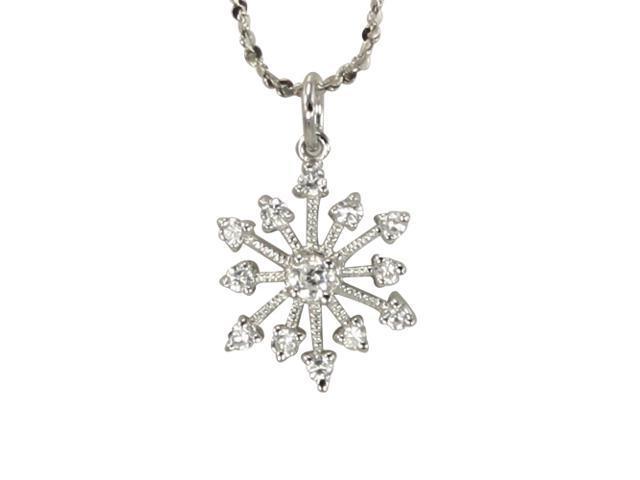 Sparkle Diamond Cubic Zirconia Snowflake Platinum Silver Pendant Necklace 16