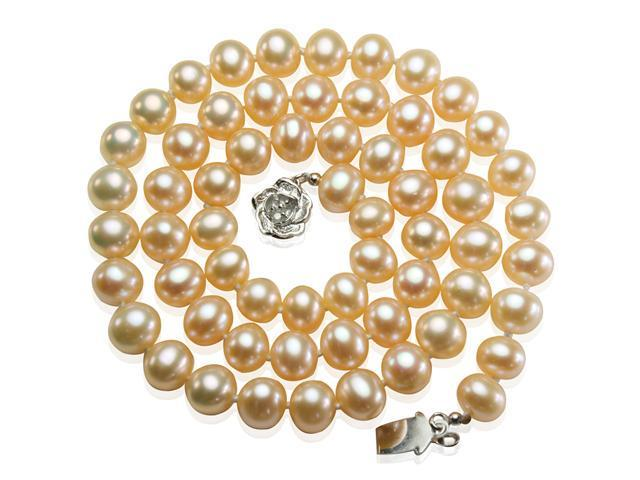Peach Pink 6-7mm AAA Cultured Pearl Strand Silver Princess Necklace 18