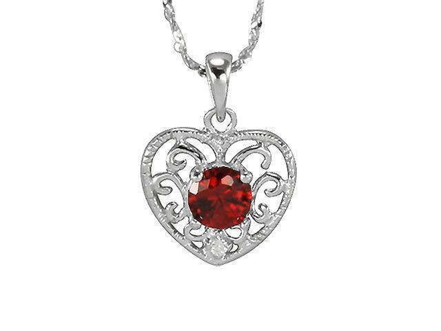 Garnet Cubic Zirconia 0.5ct Filigree Heart Platinum Silver Pendant Necklace 16