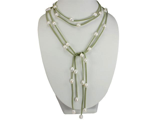 Green Double Strand Floating White 9-10mm Pearls Suede Lariat Necklace
