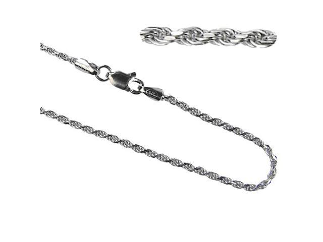 Men's Italian Diamond Cut Platinum Overlay Sterling Silver Rope Chain (24