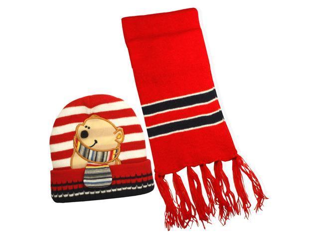 100% Acrylic Boy's Stripes & Cartoon Bear Knitted Hat Scarf Set - Red