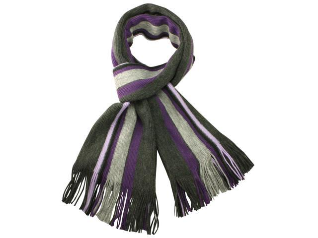 100% Acrylic Colorful Stripes Knitted Long Scarf - Purple