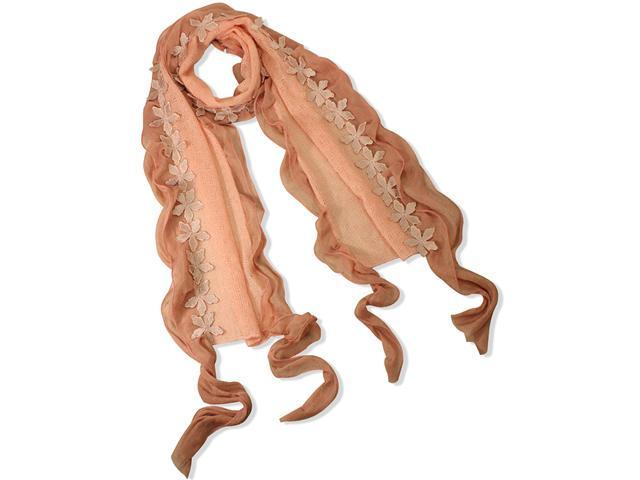 Dahlia Acrylic & Polyester Fashion Carefree Chiffon Flowers Edge Long Scarf - Pink
