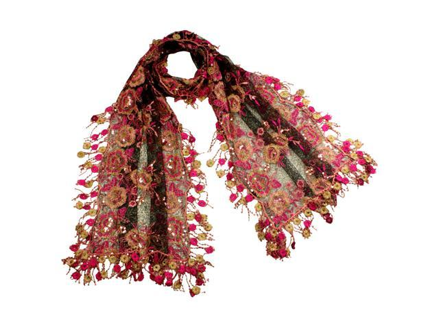 Rayon & Polyamide Handmade Lace Large Flower & Shining Sequin Scarf - Pink/Black