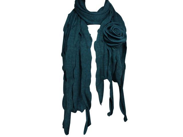 Dahlia 100% Acrylic Fashion Large Flower Ruffle Knitted Tassel Ends Long Scarf - Blue