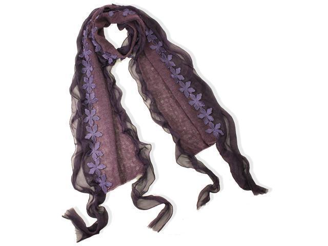 Dahlia Acrylic & Polyester Fashion Carefree Chiffon Flowers Edge Long Scarf - Violet