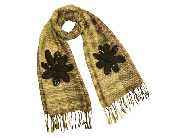 Acrylic & Mohair Fashion Knitted Sequined Flowers Long Scarf Shawl(Tan)-Various colors