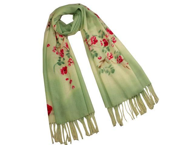 Dahlia Women's Wool Blend Scarf - Watercolor Peach Tree in Bloom - Green