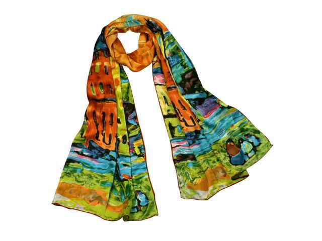 "100% Satin Charmeuse Wassily Kandinsky's ""Houses in Munich"" Long Scarf Shawl"