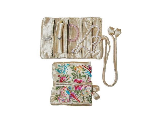Silky Embroidered Brocade Jewelry Travel Organizer Roll Pouch - Champagne Gold