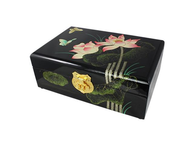 Black Lotus Flower Butterfly Hand Painted Lacquer Wood Jewelry Box