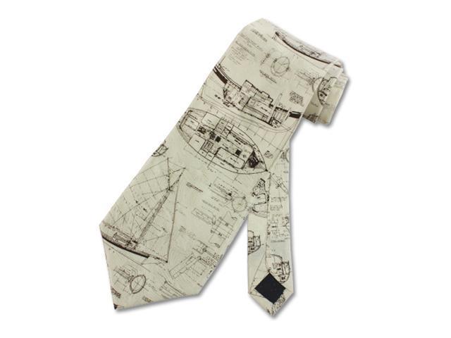 Men's Tie Ship Drawing Tan Necktie
