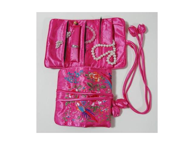 Silky Embroidered Brocade Jewelry Travel Organizer Roll Pouch - Pink