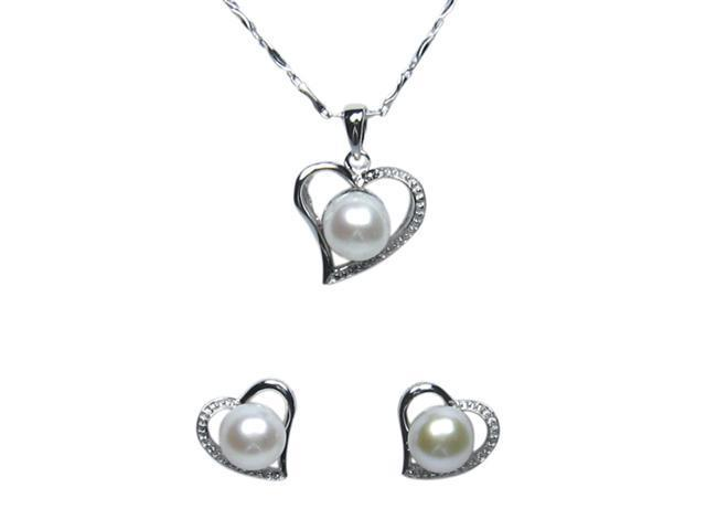 Cursive Heart Shaped Cultured Pearl Silver Pendant Necklace & Stud Earrings 16