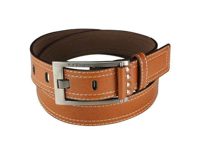 Brown Double Stitched Edge Wide Belt