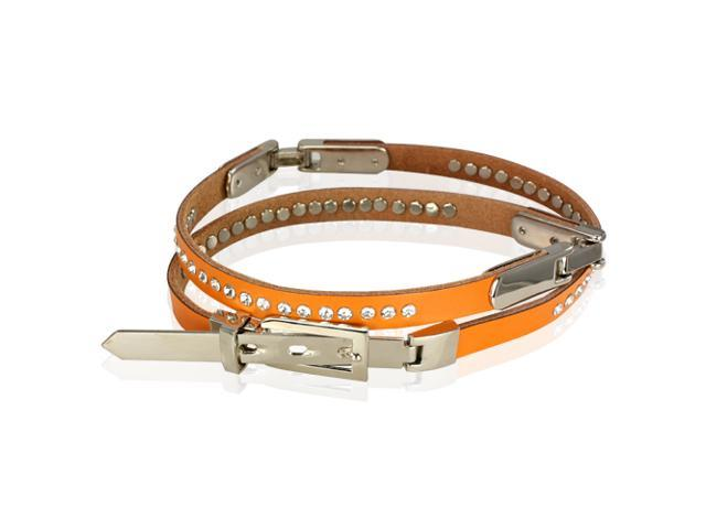 Women's Rhinestone Row Studded Fashion Leather Belt - Orange