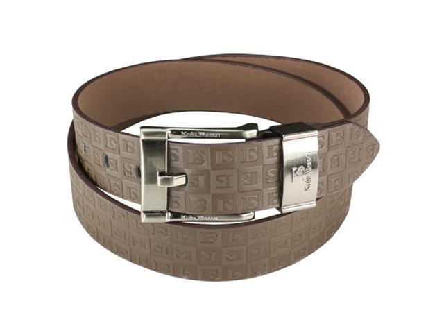 Brown Triple Cube Plaid Design Wide Belt