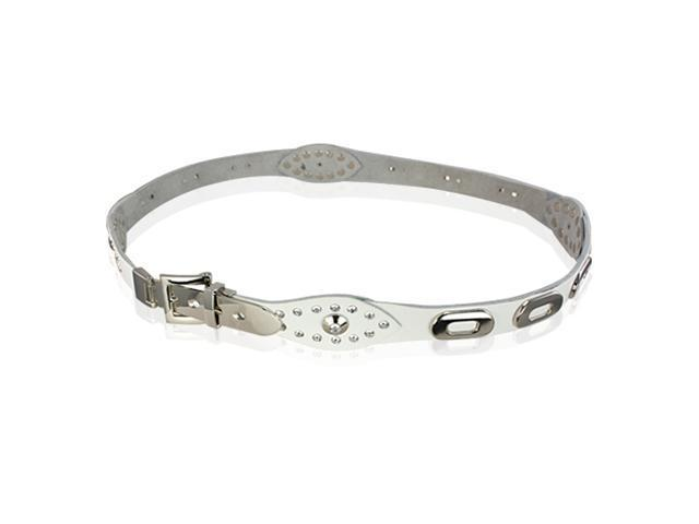 Women's Rhinestone Oval Pattern & Metal Eyelets Fashion Leather Belt - White
