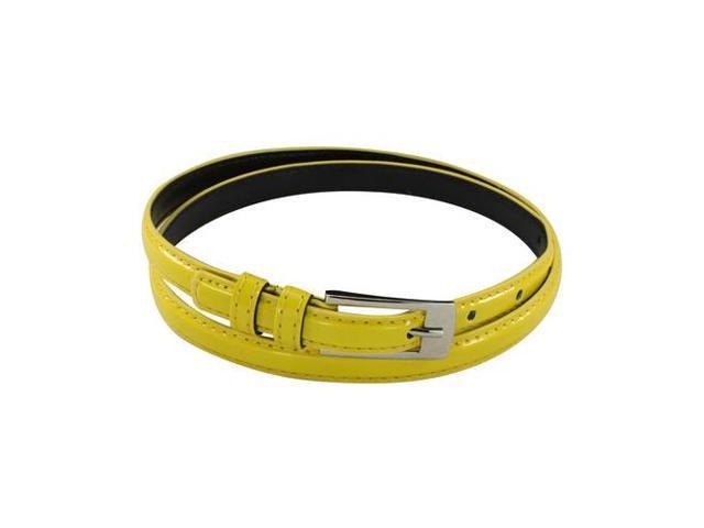 Women's Slim Dress Belt with Rectangular Buckle - Yellow