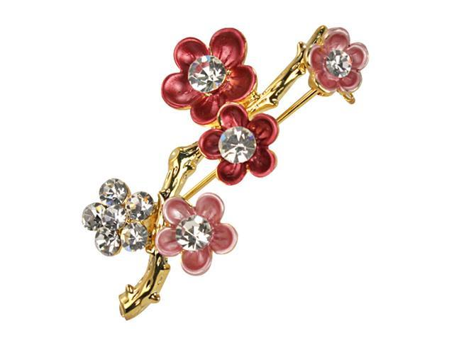 Sakura Cherry Blossom Branch Diamante Gold-Tone Brooch Pin