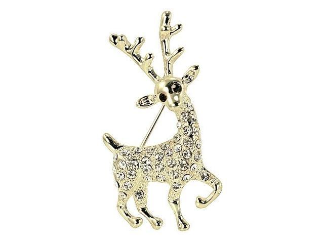 Reindeer Gold-Tone Diamante Brooch Pin