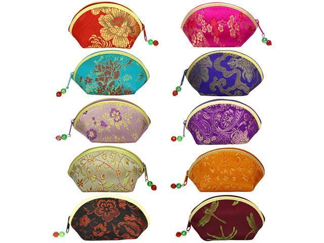 Silk Embroidered Brocade Oriental Fan Zipper Jewelry Coin Pouch Wallet Set of 10