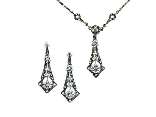 Tear Drop Silver Natural Seed Pearl Necklace & Earrings Set