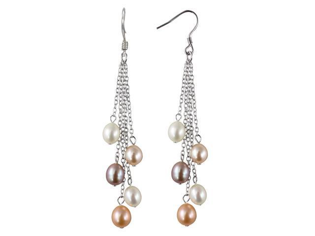 Multi-color Silver Dangle Cultured Pearl Earrings