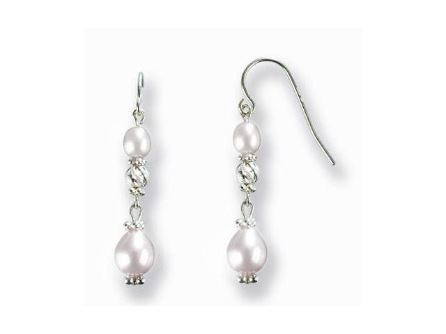 Stardust Silver Twist Bead Cultured Pearl Drop Earrings, White