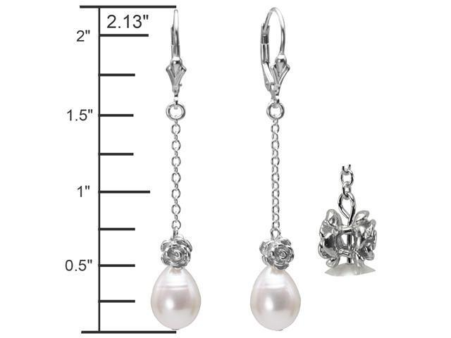 Isabella Rose 9-10mm Pearl Dangle Silver Earrings, White
